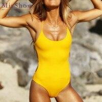 2018 Women Sexy Back Tie Cross One Piece Swimsuit Solid Bodycon Sexy Women Swimwear Hot Summer