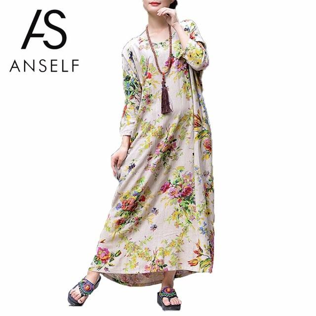 Для женщин Весна Длинные платья Плюс Размеры 3XL 4XL 5XL Хлопок Белье Макси платье Винтаж свободные Цветочный принт Бохо пляжное платье халат женский