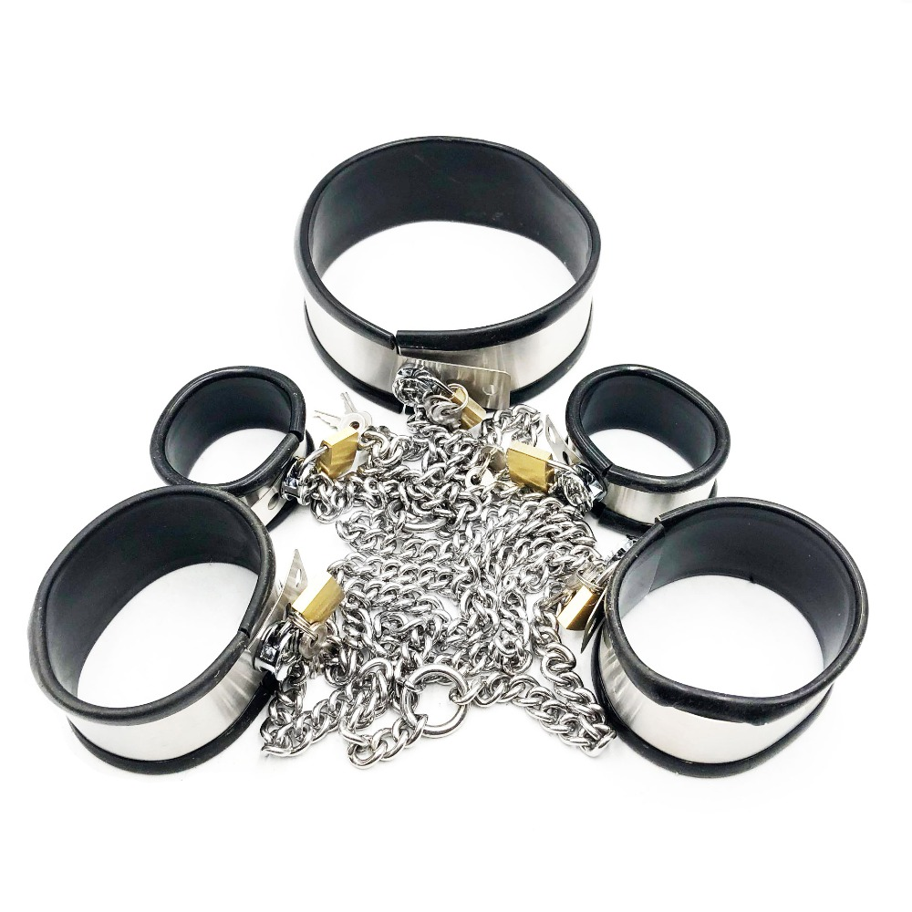 Stainless Steel Bondage Set Handcuffs For Sex Bdsm Slave Neck Collar Sex Legcuffs Bondage Cuffs Adult Games Sex Toys For CouplesStainless Steel Bondage Set Handcuffs For Sex Bdsm Slave Neck Collar Sex Legcuffs Bondage Cuffs Adult Games Sex Toys For Couples