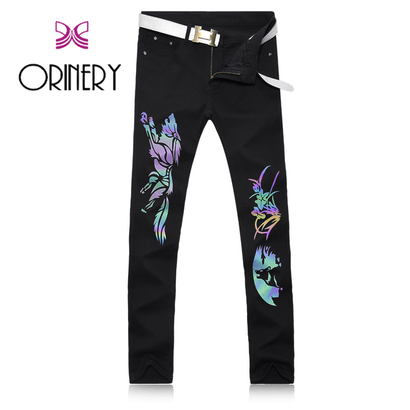 ФОТО ORINERY Hot Sale Designer Printed Jeans High Quality Luminated Night Club Dress Denim Black Pants Brand Clothing Size 28-38