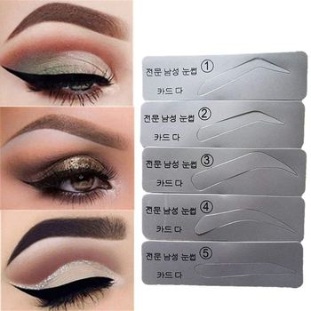 5PCS/Set Eyebrow Stencil Eyebrow Shapeing Kits Templates Shaper Silicone Eyebrows Stencils Can Be Used Repeatedly
