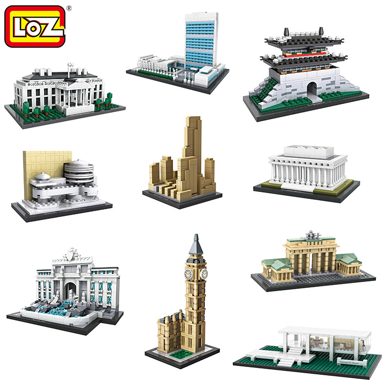 LOZ World Famous Classic Architecture Assembe mini Building Blocks Educational model toys Birthday Gift for Child eiffel tower 3d puzzle metal earth laser cut model jigsaws diy gift world s famous building eiffel tower big ben tower of pisa toys