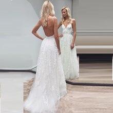 Элегантное кружевное пляжное свадебное платье на тонких бретельках