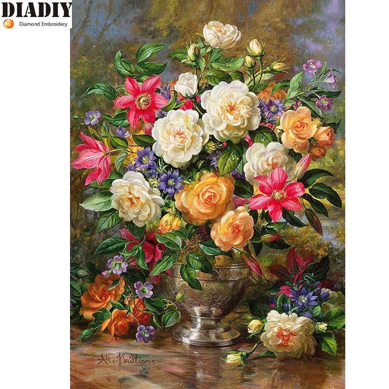 Handmade needlework diy diamond painting kit embroidery plant full rhinestone flower  cross stitch