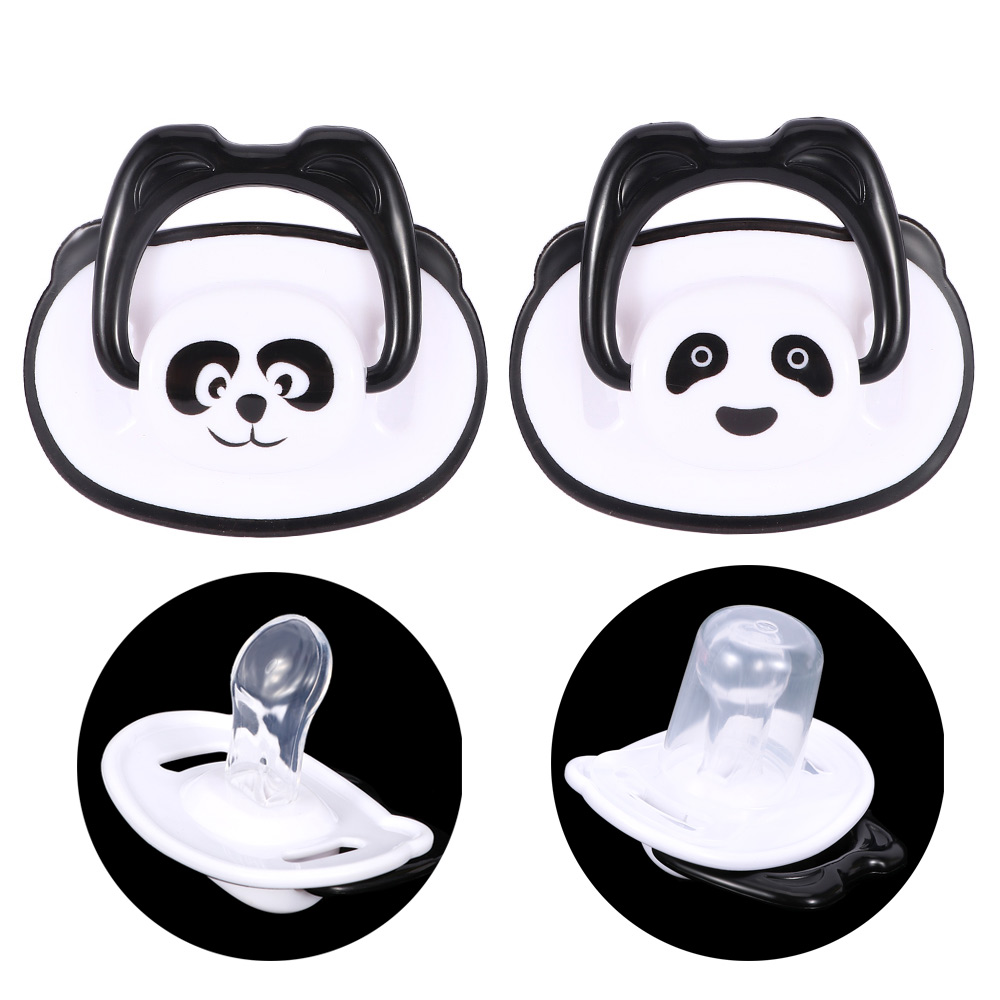 Cute Panda Baby Pacifier Safe Newborn Infant Toddlers Baby Pacifier Silicone Nipple Soother Anti-dust Lid Infant Teether