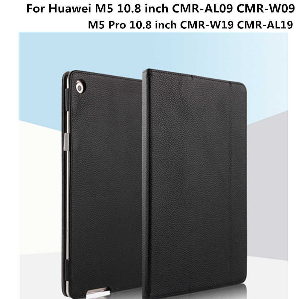 Business Case Cowhide For Huawei Mediapad M5 10.8 Inch CMR-AL09 M5 Pro 10.8 Inch CMR-W19 Tablet Genuine Leather Protective Cover