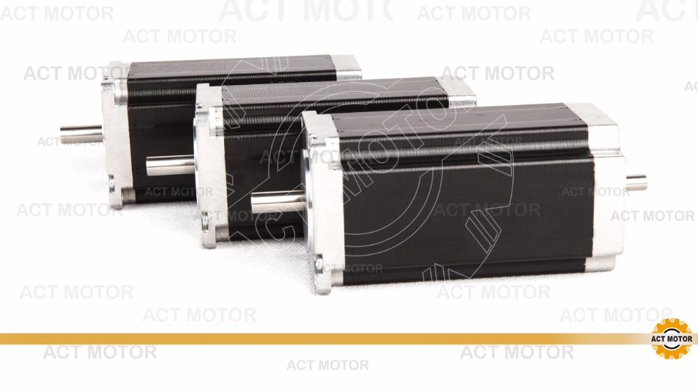 Free ship from Germany! ACT Motor 3PCS Nema23 Stepper Motor 23HS2430B Dual Shaft 4-Lead 425oz-in 112mm 3.0A Milling Machine Cut free ship from germany act 3pcs nema34 stepper motor 34hs1456b dual shaft 4 lead 1232oz in 118mm 5 6a 3pcs driver dm860 7 8a 80v