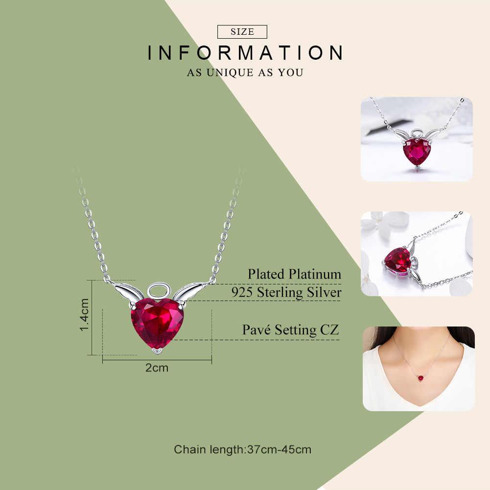 BAMOER nowa kolekcja 100% 925 srebro Angel Wings czerwony CZ naszyjniki wisiorek dla kobiet srebro biżuteria SCN285