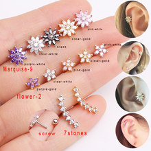 Sellsets 1 Piece Gold Color Stainless Steel Barbell CZ Crystal Flower Earrings Rook Tragus Helix Conch Cartilage Studs Piercing(China)
