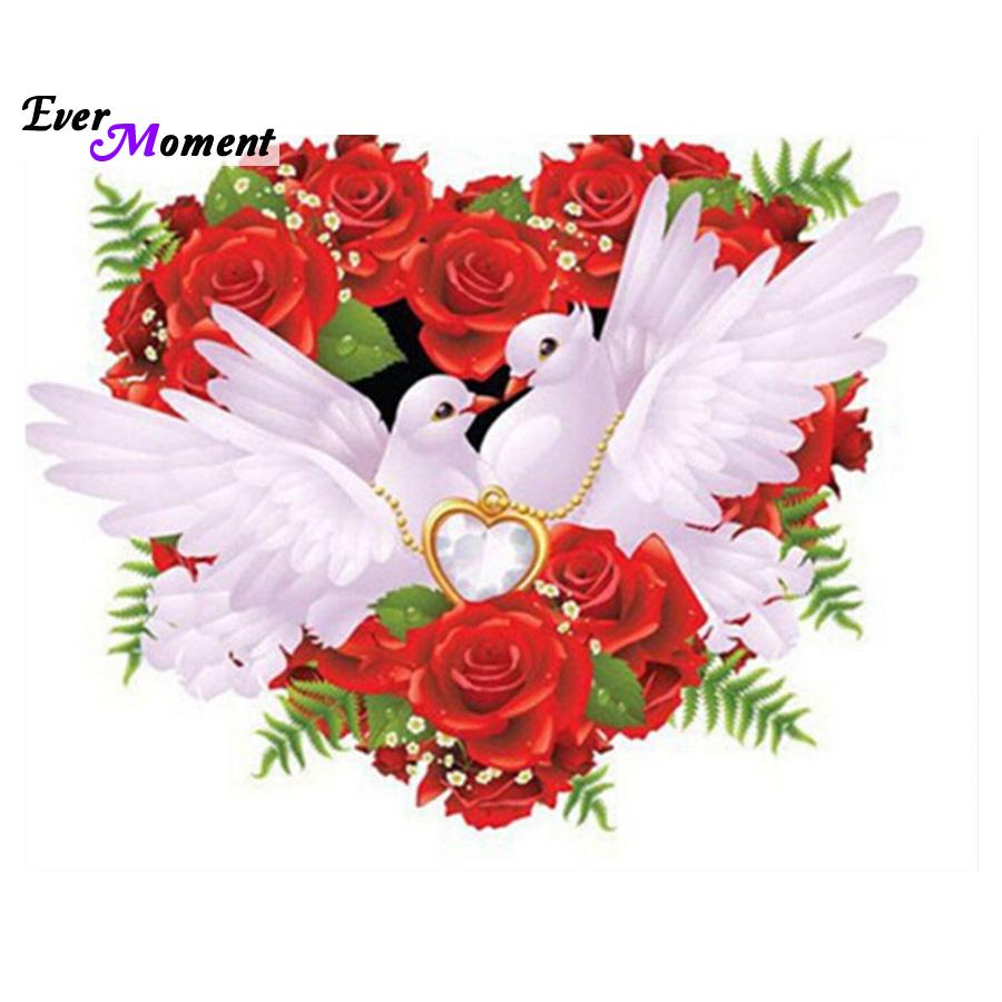 Dove rose heart diamond painting cross stitch ful 5d for Decoration avec des roses