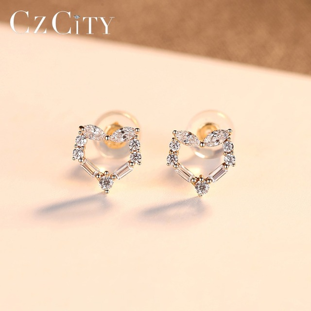 14k Gold Cubic Zircon Heart Stud Earrings 4