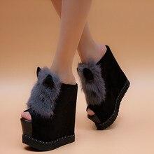 15cm spring elegant gentlewomen rabbit open toe wedges female slippers platform ultra high heels fashion sandals