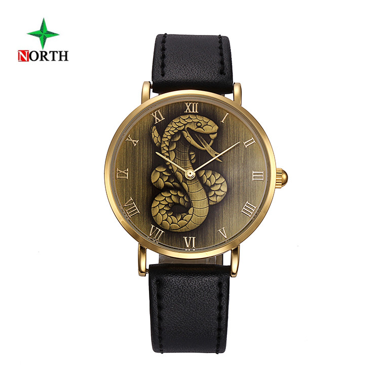 NORTH Antique Snake Mens Watches Top brand Luxury Wristwatch Male Clock Leather Strap Waterproof Quartz Sport Watch Montre Homme tanger so239 mini uhf female jack to sma male plug right angle with 20cm 8 rg316 rf coaxial pigtail low loss cable high quality