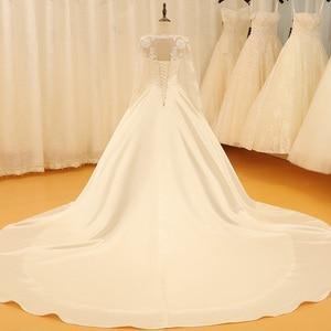 Image 2 - SL 523 Backless V Neck Illusion Full Sleeve Satin Lace Wedding Dress 2018