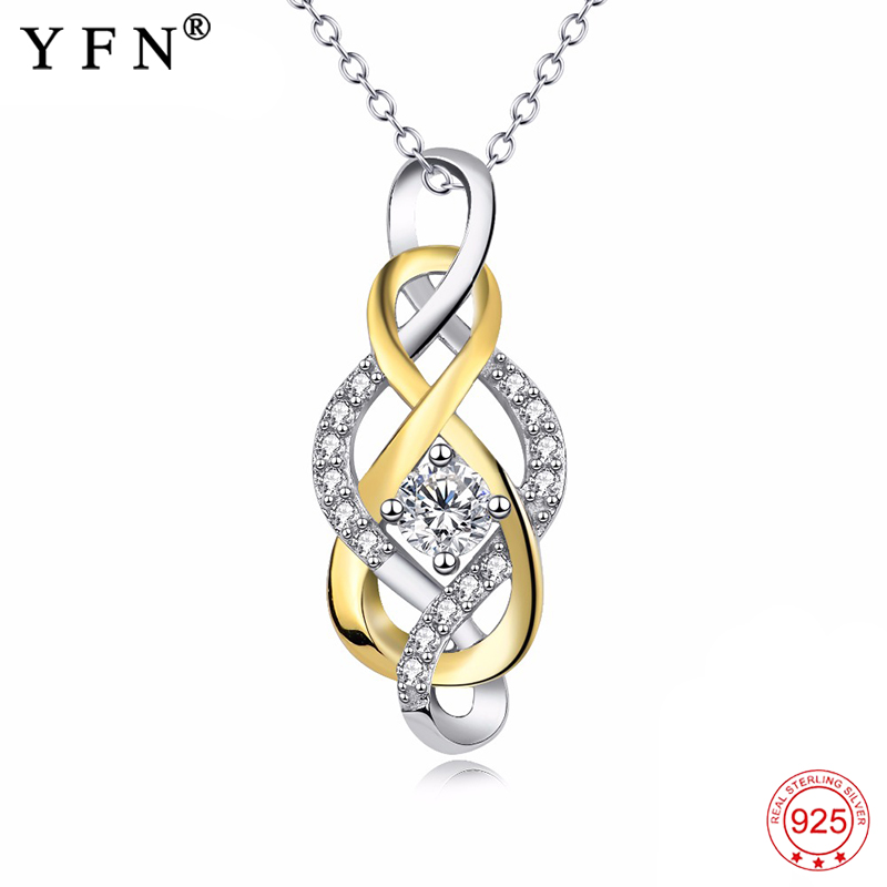 Genuine 925 Sterling Silver Necklace Cross Infinity Love Crystal CZ Knot Pendants Necklaces Fashion Jewelry Gift Women PYX0008 in Pendant Necklaces from Jewelry Accessories