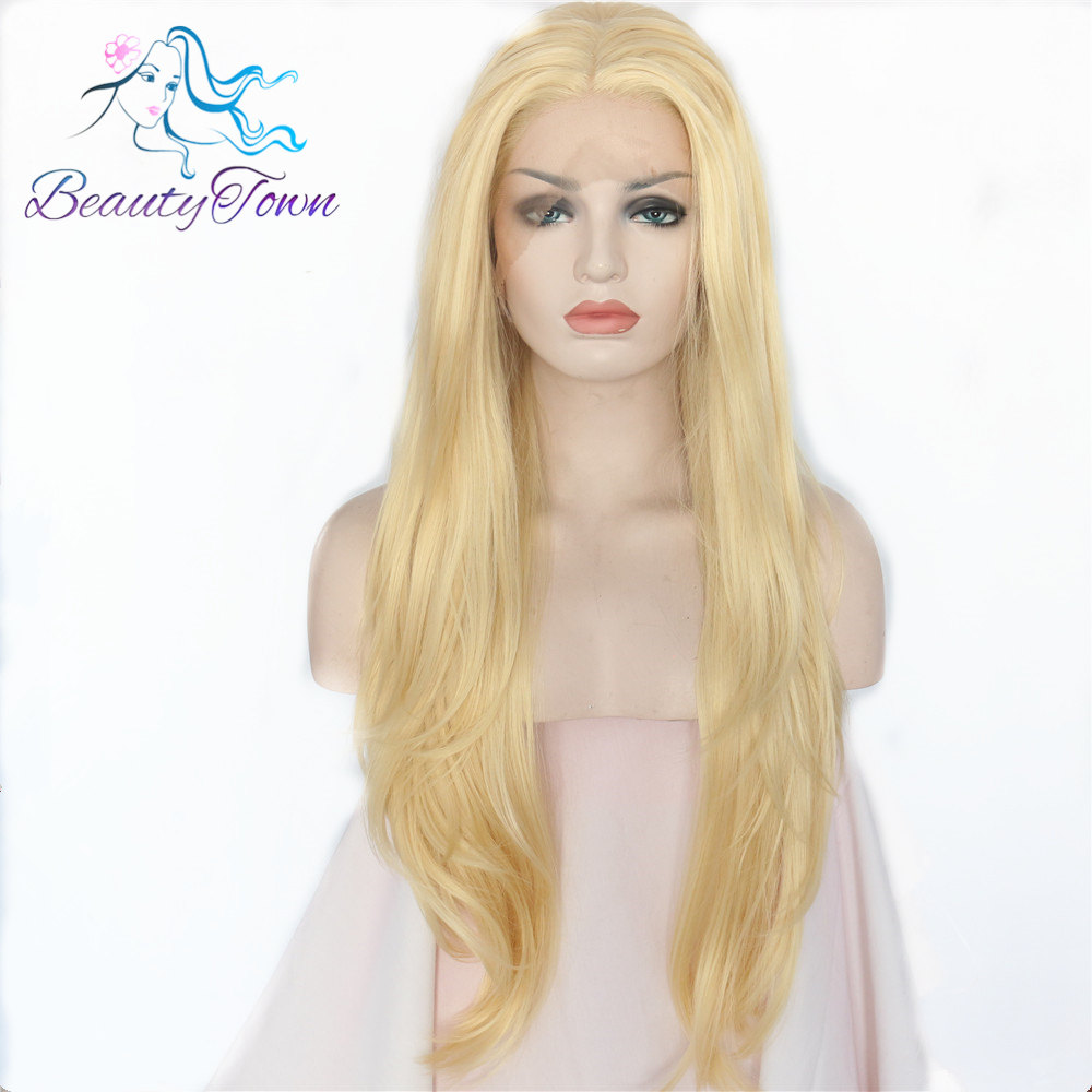 BeautyTown Gold Blonde Heat Resistant Hair Hand Tied Lace Part Cosplay Masquerade Synthetic Lace Front Party Wig For Women Daily-in Synthetic None-Lace  Wigs from Hair Extensions & Wigs    1