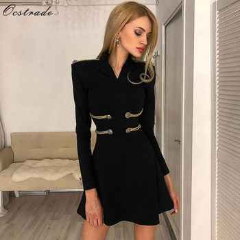Ocstrade Sexy Women Bandage Dress 2019 Black Party A-Line Bandage Dress New Fashion Emebllished Long Sleeve Bandage Dress Green - DISCOUNT ITEM  46% OFF All Category