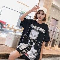 2019 Spring New Chic Printed Loose Punk T Shirt Women Hollow Out Metal Ring Tshirt Letter Women Tshirts Harajuku Tops