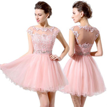 2019 Junior Grade Party Dresses Cute Pink Short Prom Dresses Cheap A-Line Tulle Lace Beads Cap Sleeves Bateau Homecomin стоимость