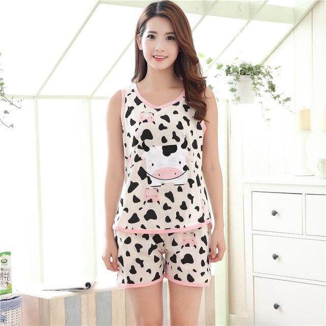 2920377f8d New Arrival Cotton Women s Pajama Sets Cartoon Cow Sleepwear Sweet Girl  Mujer Pijama Feminino Pajamas Pyjamas Women Clothing