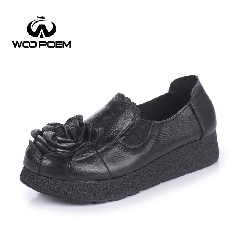 WooPoem Spring Autumn Shoes Women Breathable Cow Leather Shoes Comfortable Low Heel Flat Platform Casual Flower Lady Shoes 2692 women s shoes 2017 summer new fashion footwear women s air network flat shoes breathable comfortable casual shoes jdt103