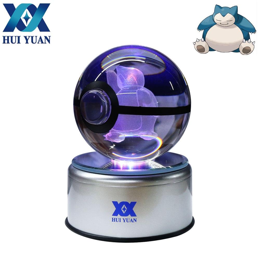 HUI YUAN Snorlax Crystal Ball 8CM Rotary Base USB & Battery Powered 3D LED Night Light Desk Table Lamp Decorations