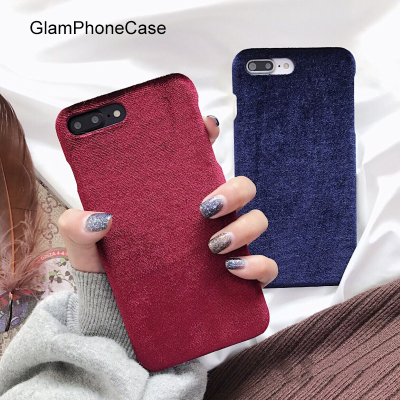 timeless design ca901 7a5ab US $5.6 |GlamPhoneCase Luxury Velvet Phone Case for iphone 6 /6S/7/8 Plus X  Solid Color PC Hard Back Cover Case Capa-in Fitted Cases from Cellphones &  ...