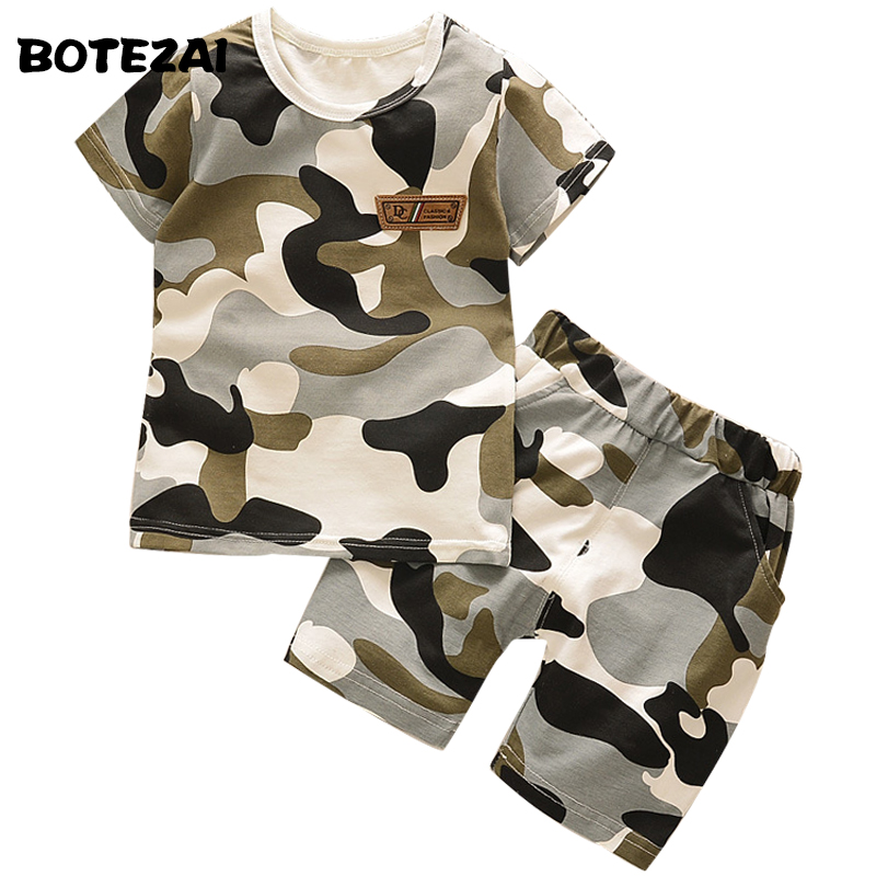 2017 Baby Boys Summer Clothes Set Kids Boys Camouflage Sports Suit T-shirt+Shorts 2pcs Tracksuit Suit Children Clothing Sets