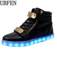 Zapatos de los hombres 7 Colores LED Luminoso de Alta superior zapatos casuales Zapatos para Adultos de recarga Luces LED de neón de la moda canasta Masculina zapatos