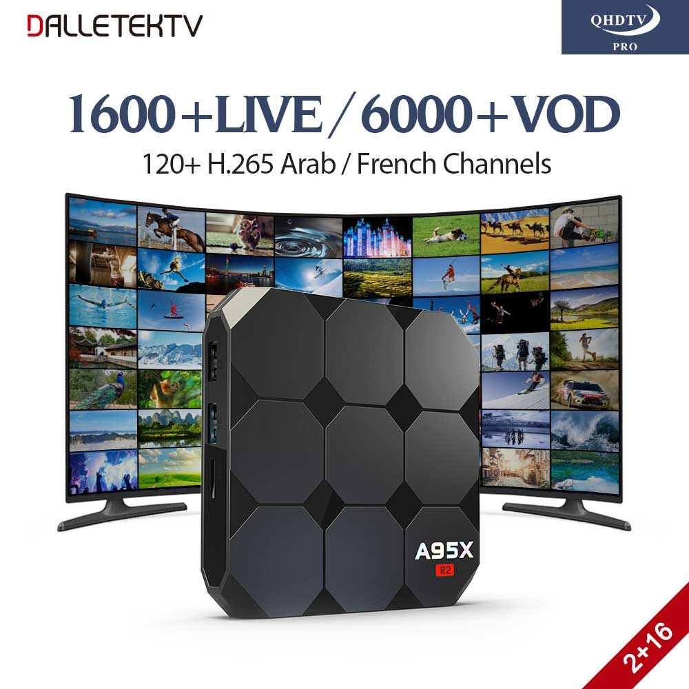 H.265 IPTV French Arabic Subscription 1 Year QHDTV PRO Code IPTV Box Europe French Arabic A95X Smart Android 7.1 TV Box 2GB 16GB amlogic s905w quad core android 7 1 tv box tx3 mini 2gb 16gb 1 year qhdtv pro account subscription europe french arabic iptv box