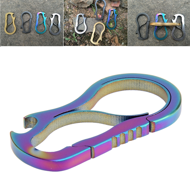 EDC Equipment Outdoor Metal Fast Buckle Keychain Mini Bottle Opener Titanium Alloy Carabiner Hook Camping Climbing Accessories