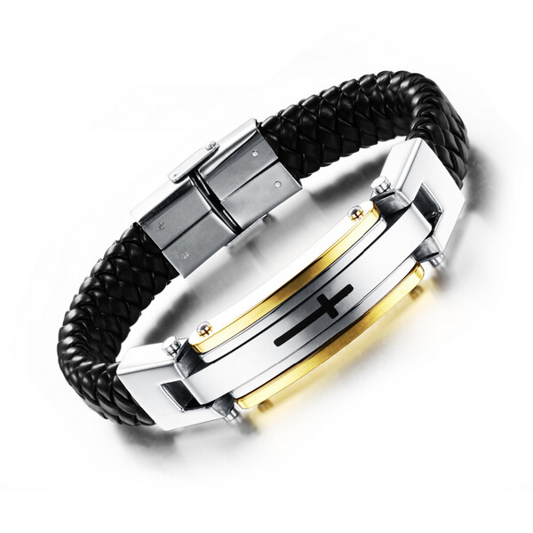 Vintage Leather Wrap Bracelet For Man Fashion Handmade Knitted Bangle Black Full Steel Cross Men Jewelry