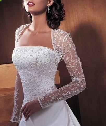 Custom-Made-Long-sleeves-lace-White-Ivory-Bride-Shawl-Wedding-Jacket-Bolero-2015-New-Shrug-Stole