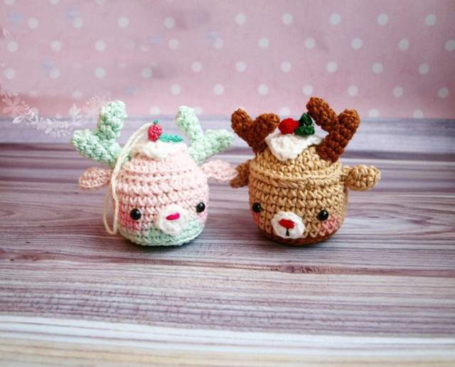 Cute Crochet Christmas Deer Cupcake Toy Rattles Baby Gift In Baby