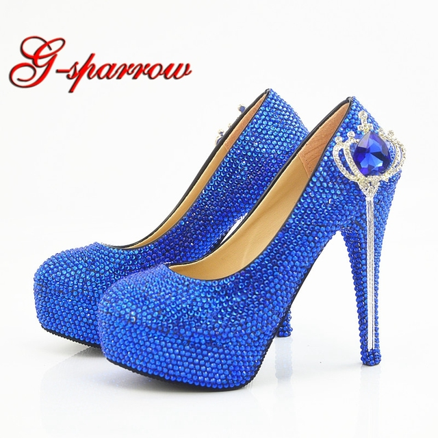 2511546725 2018 Wedding Shoes Dropshipping Royal Blue Rhinestone Bride Wedding Dress  Shoes Crown Crystal Stiletto High Heels