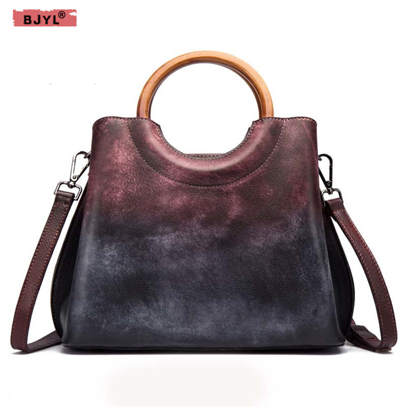 BJYL Genuine Leather handbags women handmade first layer leather handbag retro trend ladies Shoulder Bags Messenger totel bag fctossr 2018 new retro genuine leather women handbag first layer of leather shoulder bag handmade leather diagonal female bags