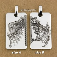 Handmade Solid 999 Sterling Silver Angel Wing Devil Wing 2 Sides Charms Pendant 9X021 Just Pendant