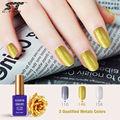 Sunrim 15ml metallic mirror nail gel soak off UV gel polish Gold Silver color high quality and shiny metal gels