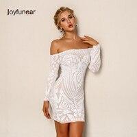 Joyfunear Sexy Sequined Short Dress Women Elegant White Off The Shoulder Clubwear Party Vestidos Long Sleeve Mini Dresses