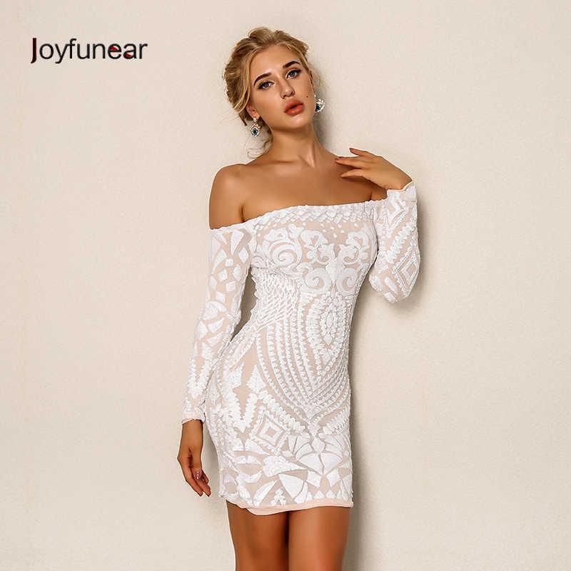 4cb6cb7b8cb Joyfunear пикантные блестками Короткое платье  для женщин Элегантный белый  с открытыми плечами клубвечерние ная одежда