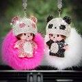 Free shipping  pearls Rabbit fur ball keychain chaveiro  llaveros porte clef holder ring sleutelhanger portachiavi monchichi