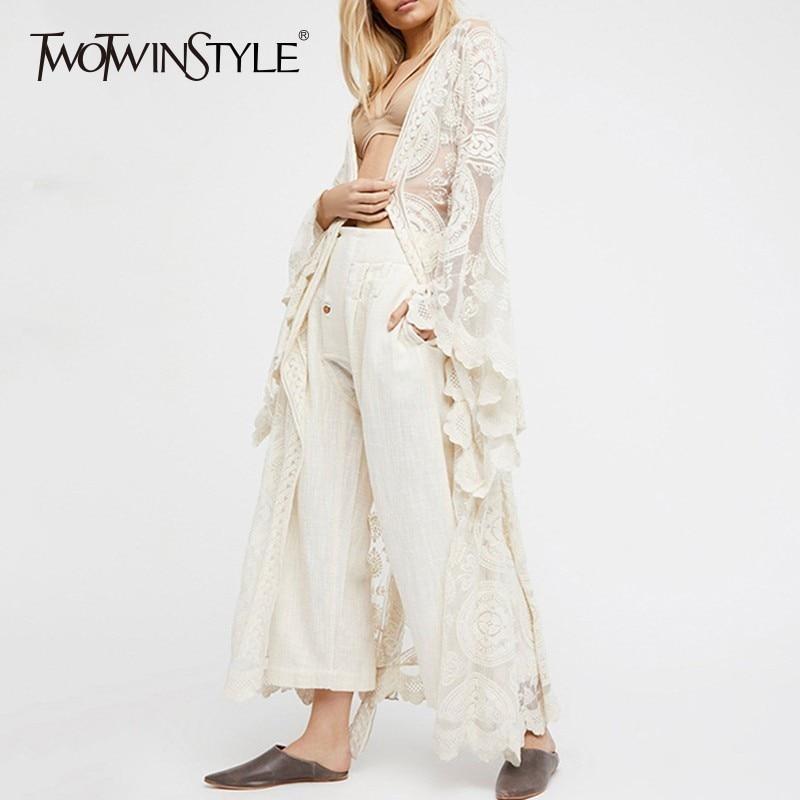 TWOTWINSTYLE Embroidery Lace Women's Shirt Flare Sleeve Maxi Blouse Female 2019 Summer Fashion Holiday Style Clothing Plus Sizes