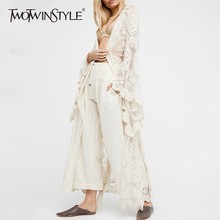 TWOTWINSTYLE Shirt Clothing Blouse Maxi Plus-Sizes Women's Embroidery Flare-Sleeve Lace