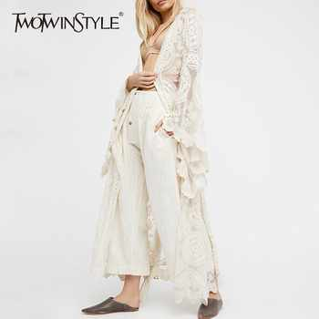 TWOTWINSTYLE Embroidery Lace Women's Shirt Flare Sleeve Maxi Blouse Female 2019 Summer Fashion Holiday Style Clothing Plus Sizes - DISCOUNT ITEM  39% OFF All Category