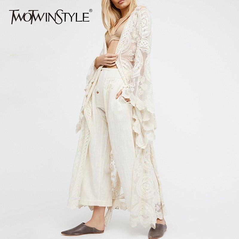 TWOTWINSTYLE Embroidery Lace Women's Shirt Flare Sleeve Maxi Blouse Female 2020 Summer Fashion Holiday Style Clothing Plus Sizes