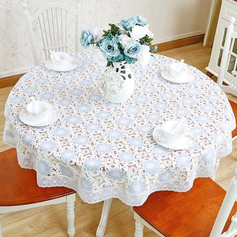 Round Chinese Blue and white embroidery lace trim tablecloths, PVC nappe table cover for dinner, wedding decoration (LRPVE0010)
