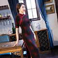 TIC-TEC women cheongsam long qipao chinese traditional dress red oriental dresses velet vintage evening elegant clothes P3128
