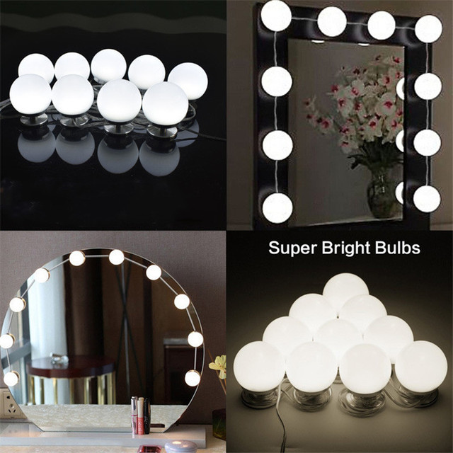 LED Dimmable Light Bulbs Vanity Makeup Mirror light White 10Bulbs Touch Control  Mirror Lamp Headlight Hollywood DIY Lamp