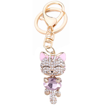 Novelty Girl Bag Decoration Rhinestone Fortune Cat Key Chain Ring Holder Alloy Keyring Charm Women Handbag Jewelry Gift R040