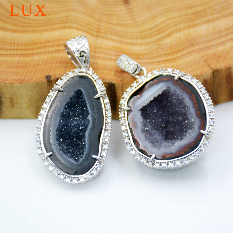 925 en argent Sterling naturel Druzy Quartz Geode pendentif CZ pavé charmes druzy pierre bijoux cadeau pour les filles